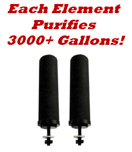 Each Black Berkey Purification Element Purifies 3000+ Gallons of Water!